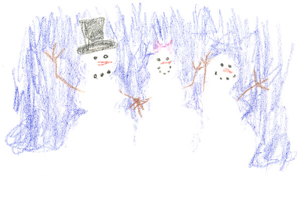 A crayon drawing of a family of snowmen.